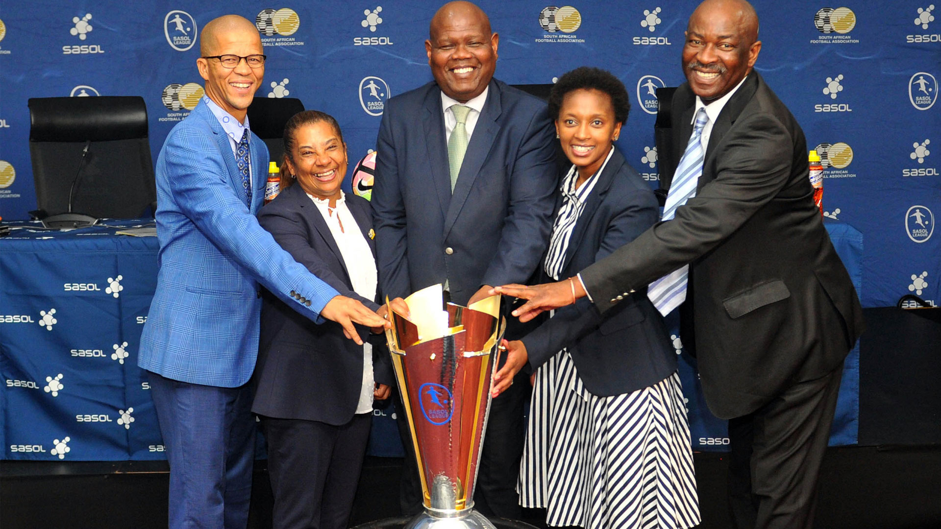 Gladwin White SAFA, Desiree Ellis coach of South Africa, Gay Mokoena SAFA Vice President and Acting CEO, Nozipho Mbatha SASOL Group Brand Manager and Thomas Sadiki SAFA Head of Competition during the 2019 SASOL League National Championship Draw on 21 November 2019 at SAFA House