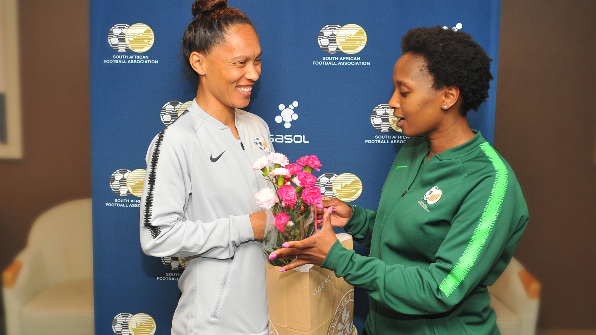 Leandra Smeda of South Africa congratulated for 100th Cap during the International Women Friendly match between Japan and South Africa