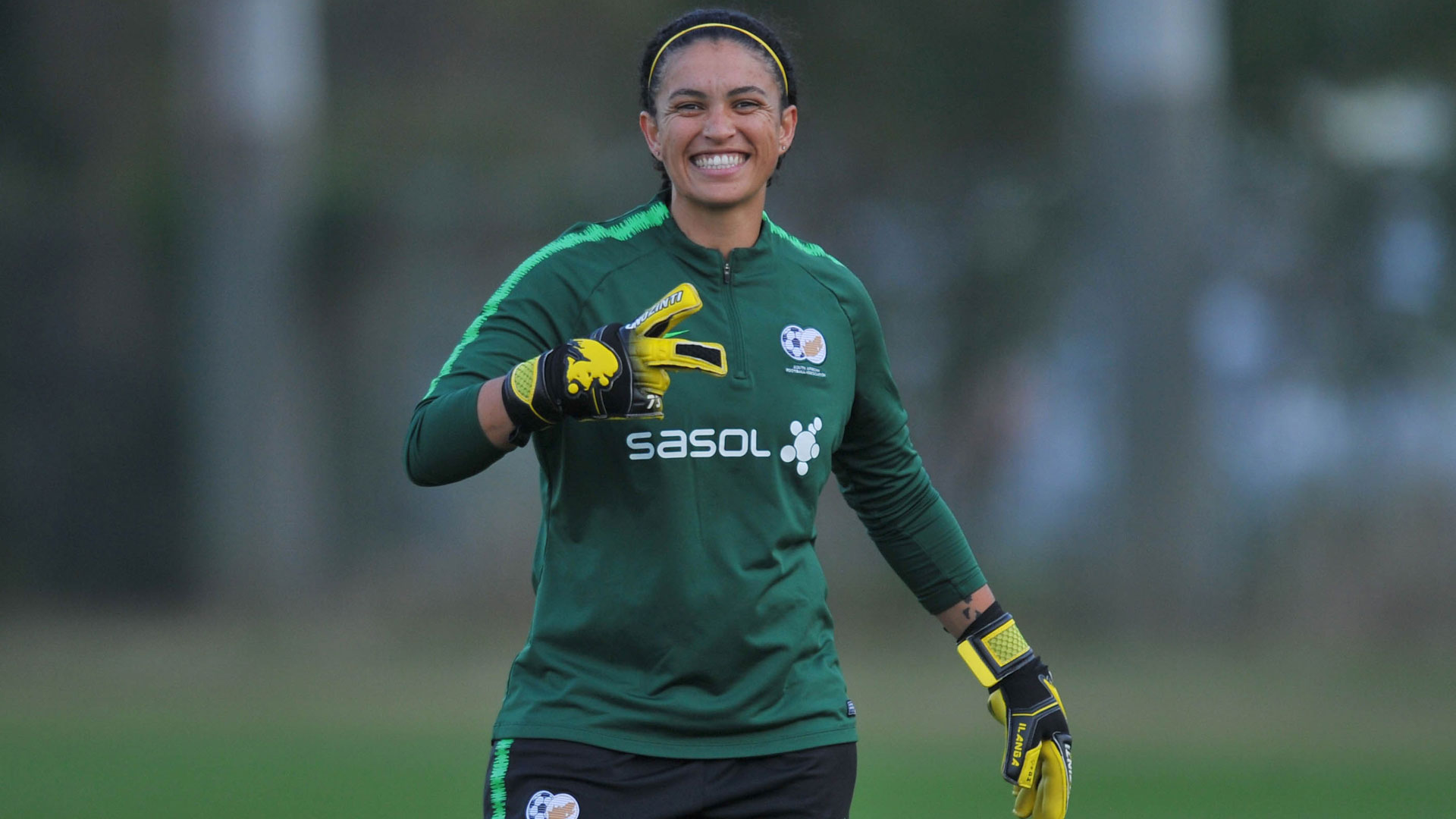Banyana Banyana goalkeeper Kaylin Swart poses during a training session